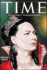 Renata Tebaldi on a 1958 cover of Time magazine