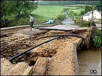Flood damage to bridge leading in Hawnby