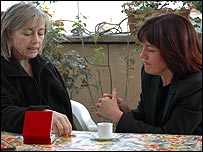 Giuliana Sgrena (left) with reporter Jane Corbin