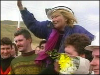 Ann Clwyd after emerging from an underground protest at Tower