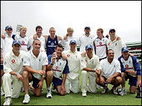 The England team pose for the camera after beating South Africa