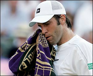 Greg Rusedski goes out of what may be his last Wimbledon
