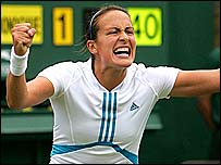 O'Donoghue celebrates after her 2004 first-round victory over Lindsay Lee-Waters of USA