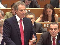 Tony Blair speaking in Brussels