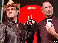 Steve Jobs and Bono show off iPods