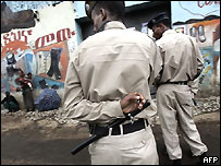 Policemen patrol the street of the capital, Addis Ababa