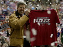 John Kerry with a Red Sox shirt