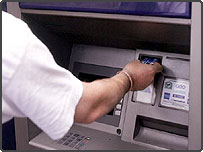Money being withdrawn from cashpoint