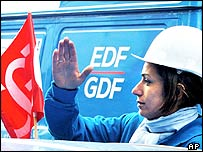 A worker demonstrating against the Gaz de France share sale
