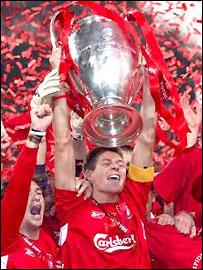 Liverpool skipper Steven Gerrard with the European Cup