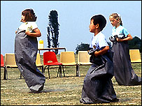 Sack race at school sports day