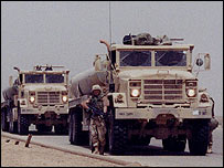 Fuel convoy of the 281st Transportation Company (Photo courtesy of Steve MacMaster)