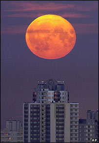 Moon over St Petersburg, Russia     Image: AP