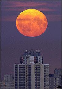 Moon over St Petersburg, Russia     Image: AP