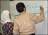 Flor escribe la transcripción fonética al español de una expresión islámica en árabe.