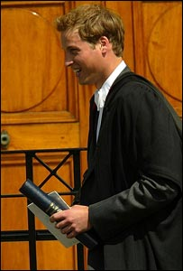 After the ceremony, and still wearing his black silk graduation robe, Prince William shook hands with members of the public