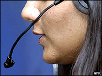 A call centre worker in Bangalore, southern India