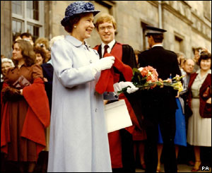 The Queen at St Andrews University in 1982