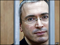 Khodorkovsky sitting in the dock of a Moscow court