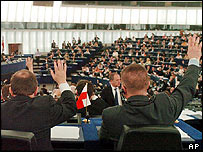 MEPs voting in Strasbourg
