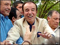 Carlos Menem pictured in La Rioja, Argentina (file photo)