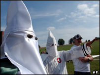 Ku Klux Klan members at a rally at Valley Forge