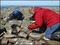 Fieldwork at Carn Menyn (Photograph by Timothy Darvill. Copyright 2005 Bournemouth University and SPACES)
