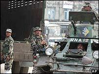 Nepalese soldiers near Kathmandu