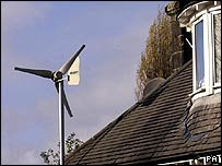 Household wind turbine. Photo: British Gas/PA