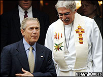 George W Bush attending church