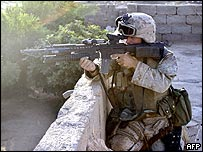 US soldier in the Iraqi city of Karabila during Operation Spear. Picture released by the US marines.