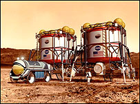 Artist's impression of a Mars base, Nasa