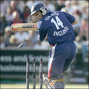 Andrew Strauss is bowled by Brett Lee