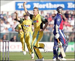 Glenn McGrath takes the wicket of Marcus Trescothick