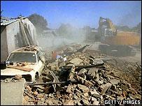 Demolition scene in Zimbabwe