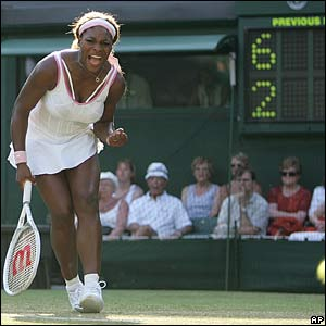Serena Williams wins a point