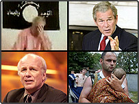 Clockwise from top left: Ken Bigley, George Bush, Father and child in Beslan, Greg Dyke