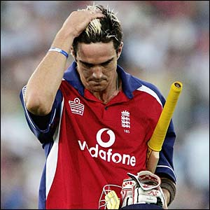 England's Kevin Pietersen walks from the crease