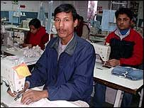 Satrughan Chowhary, a worker at Cotton Comfort's factory