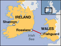 Map of Ireland and Wales