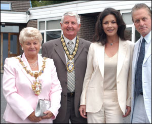Swansea's Lord and Lady Mayoress welcomed the Hollywood stars to the centre