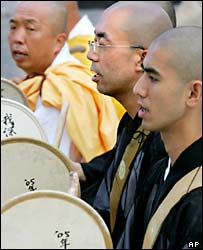 Buddhist monks chant at the Hiroshima ceremony