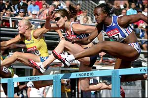 The top competitors from Sweden, Great Britain and France compete in the 100m hurdles