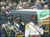 Guards carry John Garang's funeral in Juba, southern Sudan