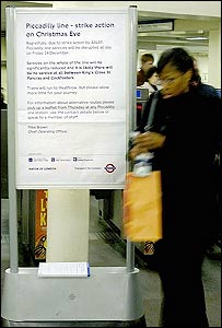 Tube strike notice at South Kensington station on Christmas Eve