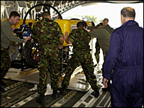 Crew loading the Scorpio into an RAF transport