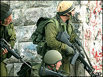 Israeli soldiers in the West Bank near Tulkarm