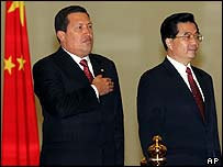 Presidents Hugo Chavez of Venezuela and Hu Jintao of China.