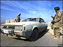 Car at a checkpoint outside Falluja