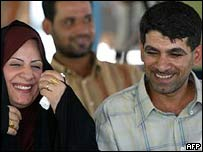Couple at mass wedding in Baghdad